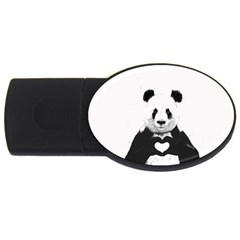Panda Love Heart Usb Flash Drive Oval (4 Gb) by Onesevenart
