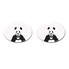 Panda Love Heart Cufflinks (oval) by Onesevenart