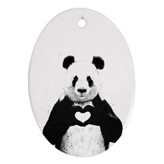 Panda Love Heart Oval Ornament (two Sides) by Onesevenart