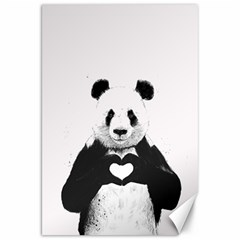 Panda Love Heart Canvas 20  X 30   by Onesevenart