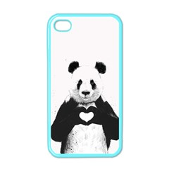 Panda Love Heart Apple Iphone 4 Case (color) by Onesevenart