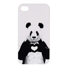 Panda Love Heart Apple Iphone 4/4s Hardshell Case by Onesevenart