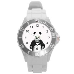 Panda Love Heart Round Plastic Sport Watch (l) by Onesevenart