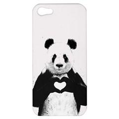 Panda Love Heart Apple Iphone 5 Hardshell Case by Onesevenart