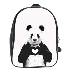 Panda Love Heart School Bags (xl)  by Onesevenart