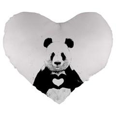 Panda Love Heart Large 19  Premium Heart Shape Cushions by Onesevenart