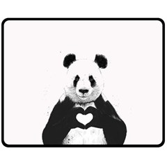 Panda Love Heart Double Sided Fleece Blanket (medium)  by Onesevenart