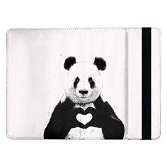 Panda Love Heart Samsung Galaxy Tab Pro 12 2  Flip Case by Onesevenart