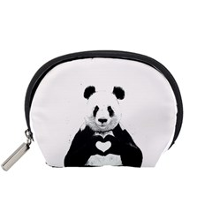 Panda Love Heart Accessory Pouches (small)  by Onesevenart