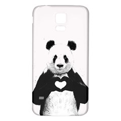Panda Love Heart Samsung Galaxy S5 Back Case (white) by Onesevenart