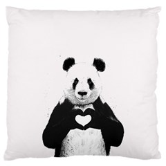 Panda Love Heart Large Flano Cushion Case (two Sides) by Onesevenart