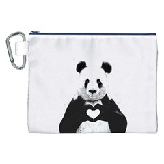 Panda Love Heart Canvas Cosmetic Bag (xxl) by Onesevenart