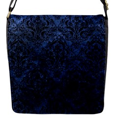 Damask1 Black Marble & Blue Stone (r) Flap Closure Messenger Bag (s) by trendistuff