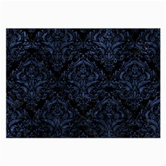 Damask1 Black Marble & Blue Stone Large Glasses Cloth (2 Sides) by trendistuff