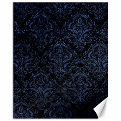 Damask1 Black Marble & Blue Stone Canvas 11  X 14  by trendistuff