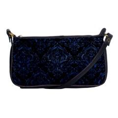Damask1 Black Marble & Blue Stone Shoulder Clutch Bag by trendistuff