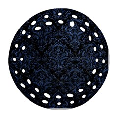 Damask1 Black Marble & Blue Stone Round Filigree Ornament (two Sides) by trendistuff