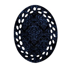 Damask1 Black Marble & Blue Stone Oval Filigree Ornament (two Sides) by trendistuff