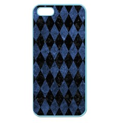 Diamond1 Black Marble & Blue Stone Apple Seamless Iphone 5 Case (color) by trendistuff