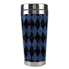 Diamond1 Black Marble & Blue Stone Stainless Steel Travel Tumbler by trendistuff
