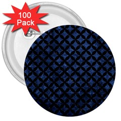 Circles3 Black Marble & Blue Stone (r) 3  Button (100 Pack) by trendistuff