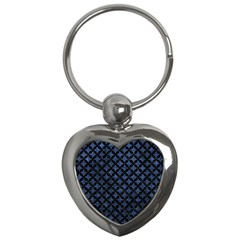 Circles3 Black Marble & Blue Stone (r) Key Chain (heart) by trendistuff