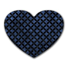 Circles3 Black Marble & Blue Stone (r) Heart Mousepad by trendistuff