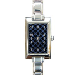 Circles2 Black Marble & Blue Stone (r) Rectangle Italian Charm Watch
