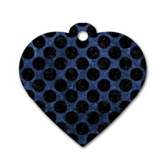 Circles2 Black Marble & Blue Stone (r) Dog Tag Heart (one Side) by trendistuff