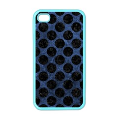 Circles2 Black Marble & Blue Stone (r) Apple Iphone 4 Case (color) by trendistuff