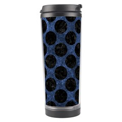 Circles2 Black Marble & Blue Stone (r) Travel Tumbler by trendistuff