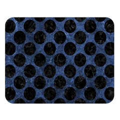 Circles2 Black Marble & Blue Stone (r) Double Sided Flano Blanket (large) by trendistuff