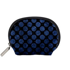 Circles2 Black Marble & Blue Stone Accessory Pouch (small) by trendistuff