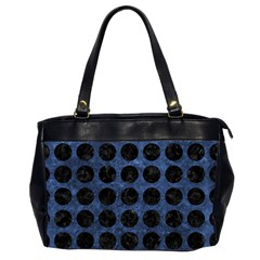 Circles1 Black Marble & Blue Stone (r) Oversize Office Handbag (2 Sides) by trendistuff