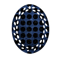 Circles1 Black Marble & Blue Stone (r) Ornament (oval Filigree) by trendistuff