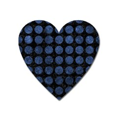 Circles1 Black Marble & Blue Stone Magnet (heart) by trendistuff