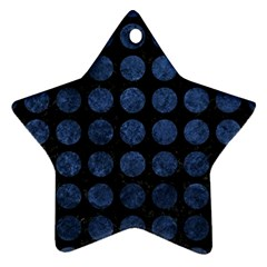 Circles1 Black Marble & Blue Stone Star Ornament (two Sides) by trendistuff
