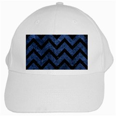 Chevron9 Black Marble & Blue Stone (r) White Cap by trendistuff