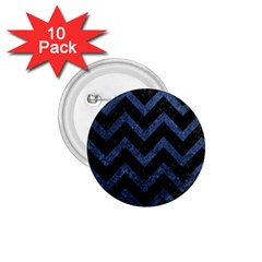 Chevron9 Black Marble & Blue Stone 1 75  Button (10 Pack)  by trendistuff