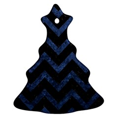 Chevron9 Black Marble & Blue Stone Ornament (christmas Tree)  by trendistuff
