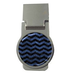 Chevron3 Black Marble & Blue Stone Money Clip (round) by trendistuff