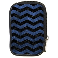 Chevron3 Black Marble & Blue Stone Compact Camera Leather Case by trendistuff