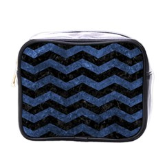 Chevron3 Black Marble & Blue Stone Mini Toiletries Bag (one Side) by trendistuff
