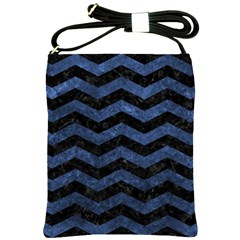 Chevron3 Black Marble & Blue Stone Shoulder Sling Bag by trendistuff