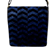 Chevron2 Black Marble & Blue Stone Flap Closure Messenger Bag (l) by trendistuff