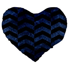 Chevron2 Black Marble & Blue Stone Large 19  Premium Flano Heart Shape Cushion by trendistuff