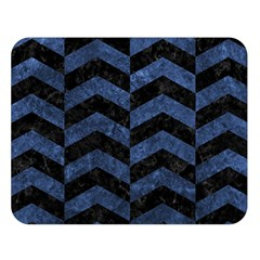 Chevron2 Black Marble & Blue Stone Double Sided Flano Blanket (large) by trendistuff