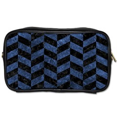 Chevron1 Black Marble & Blue Stone Toiletries Bag (one Side) by trendistuff