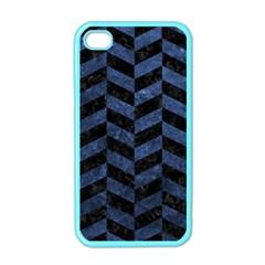 Chevron1 Black Marble & Blue Stone Apple Iphone 4 Case (color) by trendistuff