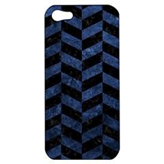 Chevron1 Black Marble & Blue Stone Apple Iphone 5 Hardshell Case by trendistuff